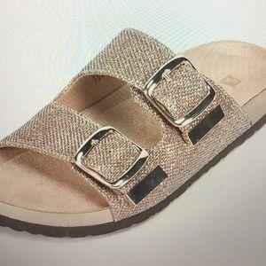 White Mountain gold metallic sandals sz 9